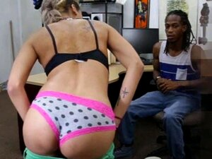 Black dude pawns her GFs vagina and gets pounded for cash, Black guy pawns her GFs pussy and pounded by pawnkeeper in the backroom to earn extra money they desperately needed