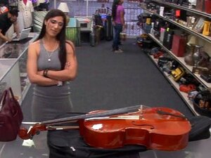 Brazilian lady pawns a stuff and rammed at the pawnshop, Sexy Brazilian woman pawns a Cello and received money from the pawnkeeper after she took the offer of fucking this pervert guy