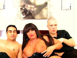 BBW MILF Gets Spit Roasted By Young Studs
