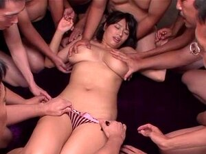 Hana Haruna pretty Asian chick has many hands on her huge boobs, Hana Haruna is a lovely Asian milf with a set of huge hooters she is getting felt and squeezed by this wild gang as they enjoy her charms and hardcore action. She is in her pink lingerie and all the guys are enjoying her body and she is getting loads of cum and tit fucks!