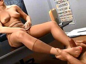 Schoolgirl Gives Footjob In Pantyhose