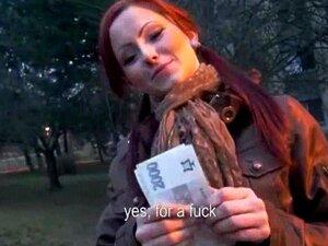Pigtailed redhead Czech girl anal slammed by stranger for cash
