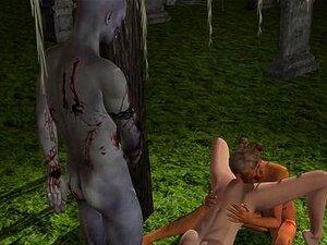 Bi 3D toon babe fucks a zombie couple