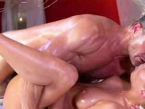 Masseur fucks pussy and fingers ass. Masseur giving massage with stones and oil to sexy blonde customer then she climbs on his cock and he fucks her pussy and fingeres her ass till orgasm