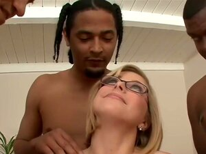 HD Penny with glasses gets messy bukkake, Blonde girl with glasses gets a few nice loads on her pretty face