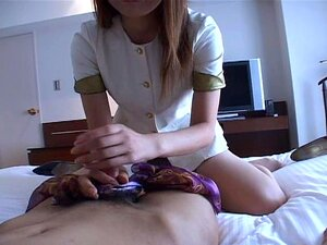 japanese girl silk scarf handjob & blowjob