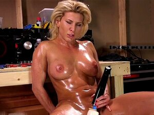 Oiled blonde gets double penetration machine. Oiled big boobs blonde hottie Ariel X vibrates her clit then fucks machine with her shaved pussy till continue with double penetration fucking machine