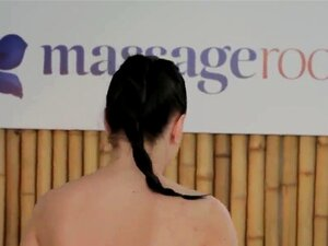 Masseur bangs natural busty brunette, Experienced masseur relaxing and rubbing sexy natural busty brunette babe with hot stones then fingering her pussy and fucking till pussy cumshot