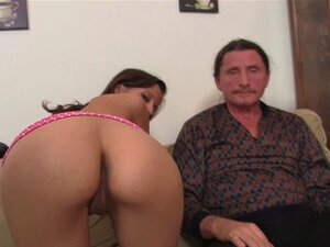 Euro girl forces old man lick her young pussy. Euro girl forces old man lick her young pussy