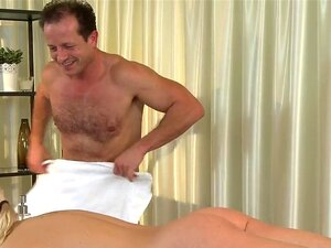 Masseur bangs small tittied blonde and cums, Muscled experienced masseur only with towel over his genytals giving massage to small tittied blonde then banging her till cum twice