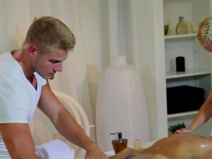 Masseur and masseuse bangs brunette, Couple of masseurs sexy slim blonde and handsome muscled guy giving massage to slim brunette babe then banging her till pussy creampie in threesome